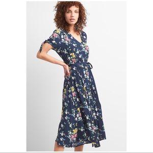 Gap Floral Print Maxi Dress Tie Waist Size Small
